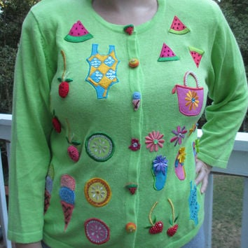 Fruity sweater, Food Sweater, food clothes, Green sweater, tacky christmas sweater, tacky sweater, kawaii sweater, Unique sweater, u