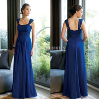 2017 Cheap Long Royal blue Bridesmaid Dress Chiffon Floor Length Wedding Guest Dresses