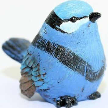 BLUE PATTERNED COLOUR BIRD WREN LOOKALIKE REALISTIC LOOKING REALLY CUTE 60MM HI