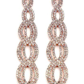 "3"" rose gold crystal pave link dangle earrings pierced"