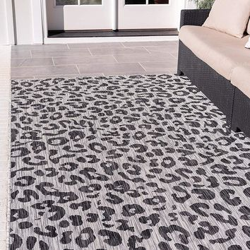 7188 Gray Leopard Print Outdoor-Indoor Area Rugs