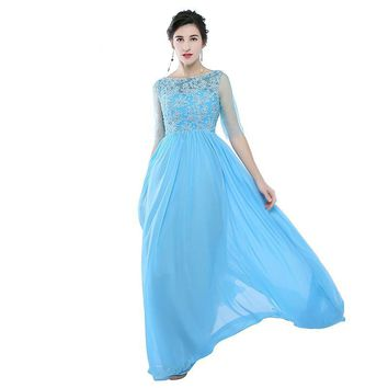 Chiffon Prom Dresses Long A Line Scoop Half Sleeves Formal Evening Dress Women Party Gowns