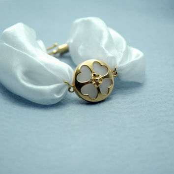 White Jade Stone Gold filled Heart Clover Frame Oriental by Myvera