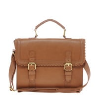 ASOS | ASOS Satchel Bag With Scallop Trim And Buckles at ASOS