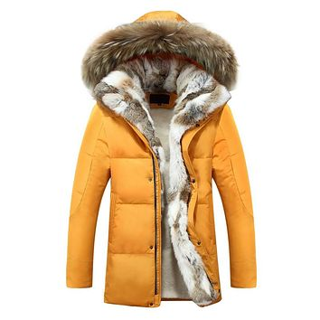 Men Down Jackets Fur Collar Thick Warm Parka Casual Hooded Coat