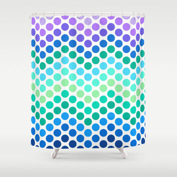 Dot Chevron: Blue Purple Shower Curtain by Eileen Paulino