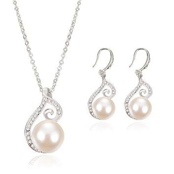 SHIP BY USPS: OUFO Silver Plated faux Pearl Necklace Earring Fashion Jewelry sets 2003