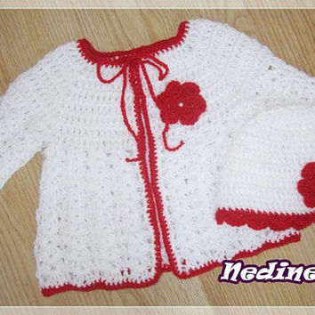 Crochet hat and crochet cardigan set, baby crochet cardigan, girl clothing,