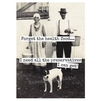 Forget The Health Food Funny Vintage Style Anniversary Card Valentines Day Card Love Card FREE SHIPPING