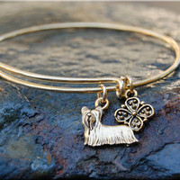 Yorkshire Terrier Expandable Bangle bracelet, Dog Bangle, Adjustable stacking bangle, Dog jewelry, stacking bangle, Gold Terrier Bracelet