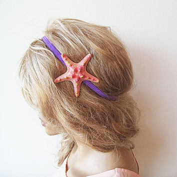 Peach Starfish Elastic Headband, Starfish Hair Accessories, Beach Hair, Mermaid Hair, Beach Weddings, Beach Hair,