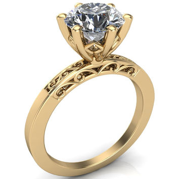 Victoria Charles & Colvard Forever Brilliant or Forever ONE Round Moissanite Filigree Hollowed Quarter Band 6 Prong Serenade Solitaire Engagement Ring - 14K White, Yellow, Rose Gold, Palladium, Platinum