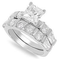 Sterling Silver Princess Cut Cubic Zirconia Bar-Set CZ Engagement Bridal Ring Set