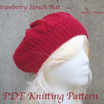 Strawberry Slouch Hat, PDF Knitting Pattern, Eyelets, Beret Tam Slouchy, Sport Weight Yarn