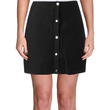Carven Womens Cotton Solid Pencil Skirt