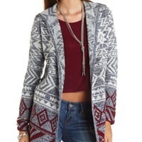 Hooded Aztec Cardigan Sweater by Charlotte Russe - Navy Combo