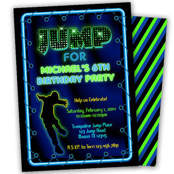 Trampoline Invitation Boys - Neon Jump Birthday Party Invitation - Jump Invitation - Jump Party Boy- Bouncy Invites - Boys Birthday Blue