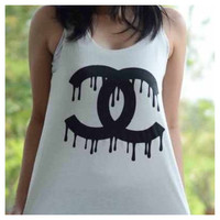 Chanel Womens Graphic Tank Top by SheaBoutique on Etsy