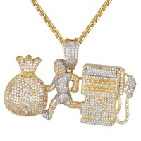Mens Gas Fuel Emoji Chasing Money Bag Iced Out Pendant