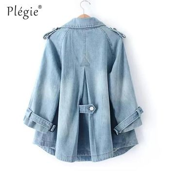 Plegie Denim Cape Coat Female Jacket Double-Breasted Big Size harajuku Jackets Women Windbreaker A-Line Denim Basic Coats