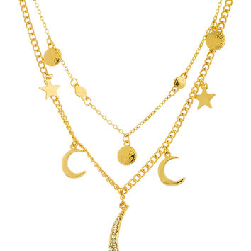 Goldtone Crescent Moon and Stars Charms with an 18 Inch Adjustable Link Layered Necklace