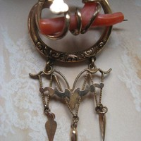 Victorian Coral Branch Brooch in Gold Fill.....Good Luck Charm