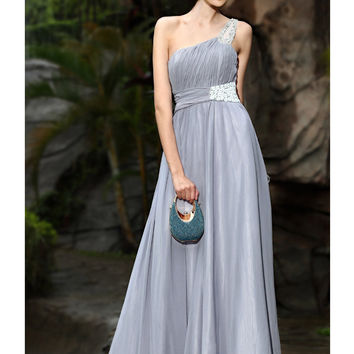 Elegant A-line One-shoulder Floor Length Silk Like Satin Evening Dress-SinoSpecial.com