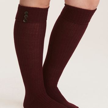 Wooden Button Knee-High Sock Pack