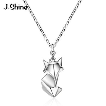 JShine Genuine 925 Sterling Silver Cute Fox Pendant Necklace 2018 New Design High Quality Necklaces for Women Jewelry Bijoux