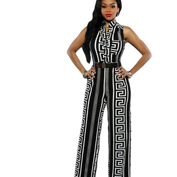 2016 New Fashion Plus Size Sexy Club Rompers Women Jumpsuit 2 Colors Print Gold Belted Jumpsuit LC64021 macacao feminino