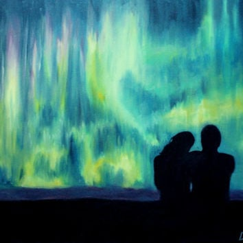 Aurora Borealis Northern Lights Couple Night Sky Romantic Landscape Painting - Original Oil Painting on Canvas