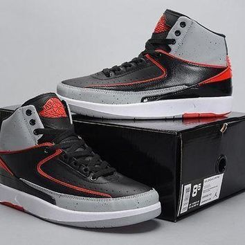 Air Jordan 2 Retro AJ2 Black/Gray/Red Basketball Sneaker Size US 8-13