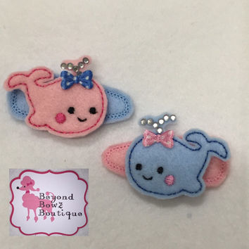 Baby Whale hair clip, felt hairclip, pink whales, blue whales, glitzy, clips for toddlers, girls hair accessory, custom hairclips,cute clips