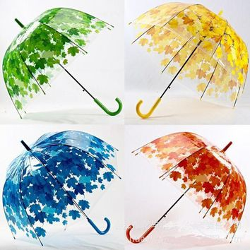 New Fresh Leaves Cage Umbrella Transparent Rainy Sunny Umbrella Parasol Cute Umbrella Women Child Clear Paraguas Free Shipping