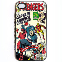 SALE iPhone 4 4s Avengers Captain America Hard Snap on iPhone Case Comes in Black or White