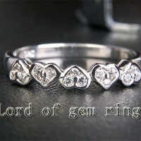 Diamond Wedding Band Half Eternity Anniversary Ring 14K White Gold Unique 5 Heart Shaped
