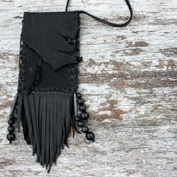 Black Goatskin Leather and Stingray Skin Small Medicine Bag Spiritual Shaman Herb Satchel Pouch, Gold and Rainbow Obsidian