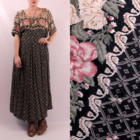 Vintage 90s - Black & Pink Rose Rosebud Floral - Short Sleeve - Pleated Baby Doll Maxi Dress - Romantic - Grunge - Plus Size