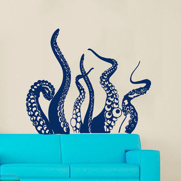 Tentacles Decal Marine Decor Octopus Wall Decal Nautical Vinyl Stickers Sea Ocean Animal Decals Home Design Bathroom Decor Art Murals KI139