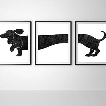 Dachshund print Wiener dog Set of 3 print Large poster 20X28 Sausage dog German dog Wall decor Home decor Dog lovers gift Dachshund decor