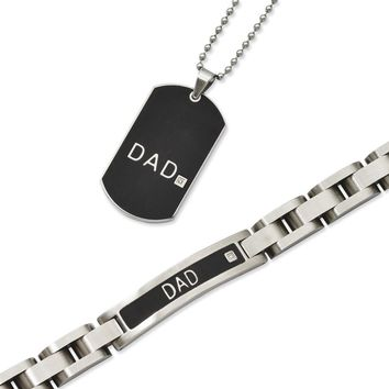 Men's Stainless Steel Black-plated 8.75 inch Dad Bracelet & Dad Diamond Necklace Set