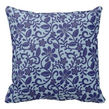 Navy on Ice Blue Floral Damask Pattern Throw Pillows