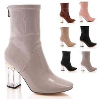 LADIES WOMENS PERSPEX CLEAR HEEL ANKLE BOOTS HIGH HEEL ZIP UP FASHION SHOES SIZE