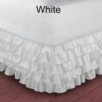 1000TC Egyptian Cotton White Queen Ruffle Bed Skirt / Valance