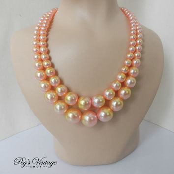 Vintage Pink Peach Pearl Ombre Bead Necklace, Multi Strand Necklace, Glass Pink Faux Pearl 50's Choker Necklace, Wedding Jewelry