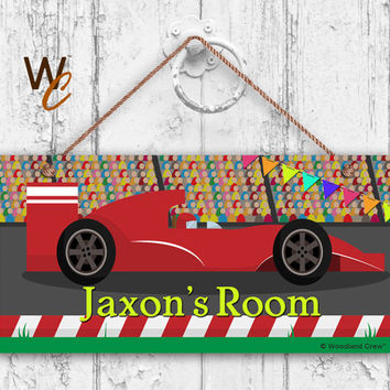 "Race Car Sign, Race Track Boys Room Sign, Personalized Sign, Kid's Name, Kids Door Sign, Baby Nursery Art, 5"" x 10"" Sign, Made To Order"