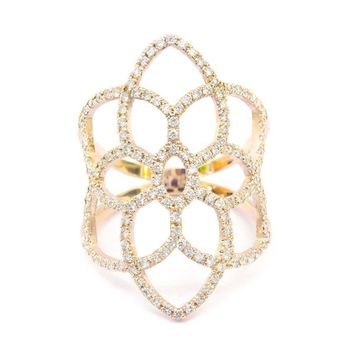 Dream Catcher Diamond Ring, Diamond Pave Lace Ring, Wide Diamond Fantasy Ring, Right Hand Ring, Pave Ring 14K/18K Rose/Yellow/White Gold