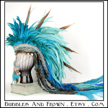 Washed Ashore....Feather Mohawk in Aquamarine with Gold Metal Gypsy Veil