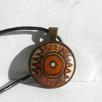 Original African Pendant Necklace, Hand Painted Jewelry, Tribal Art, Copper Bezel Necklace, Leather Cord Necklace, Handcrafted by Artdora