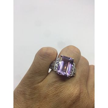 Vintage Handmade Genuine purple Amethyst Filigree setting 925 Sterling Silver gothic RingSize 7 can be resized